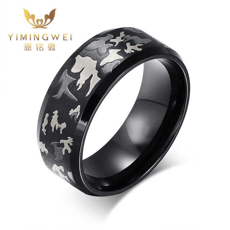 [YMW] Black fashion Men Ring Burn Military Camouflage 316L Stainless Steel Male Rings Punk jewelry