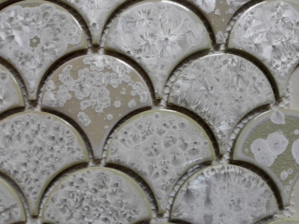 11pcs White Fish Scale Ceramic Mosaic Tile Kitchen