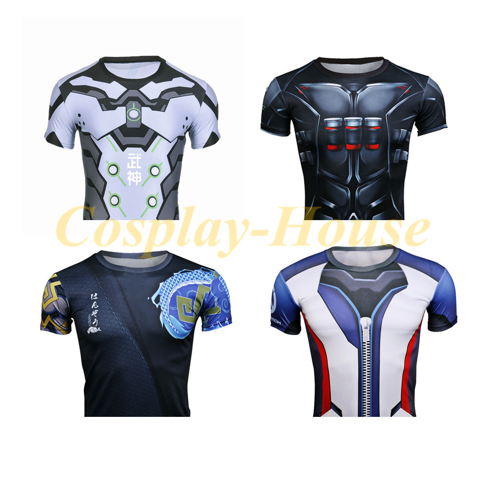 Cos Hot Game OW T-shirt Soldier 76 Tee Gegji Skin Tee Shimada Hanzo Tee Reaper Tee Short Sleeve Shirts Quick-dry Material