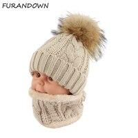 Children Kids Winter Hat Scarf Set Raccoon Fur Ball Hat Pom Pom Beanies Baby Girls Warm