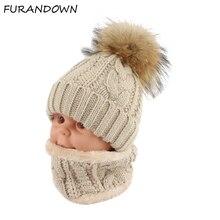 Children kids Winter Hat Scarf set Raccoon Fur Ball Hat Pom pom Beanies Baby Girls Warm Fleece Cap Scarf Set