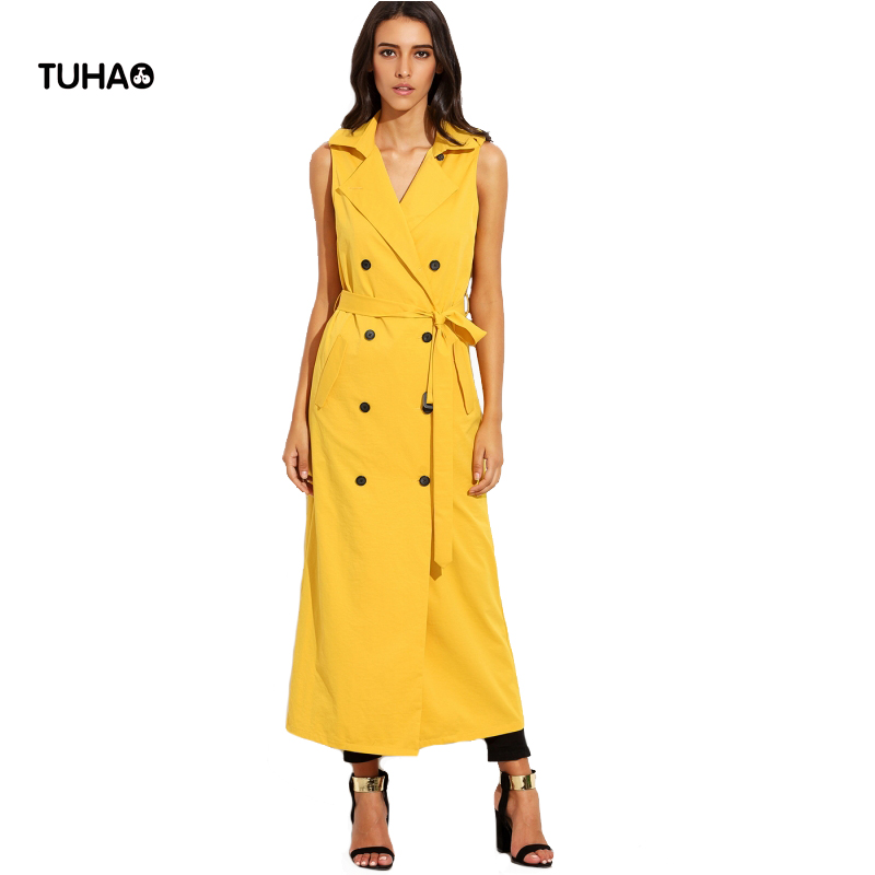 2017 Autumn Sleeveless Trench Coat Women Lapel Sashes Slim Fit Double Breasted Long Trench Yellow Casual