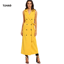 2017 Autumn Sleeveless Trench Coat Women Lapel Sashes Slim Fit Double Breasted Long Trench Yellow Casual Outerwear T81383