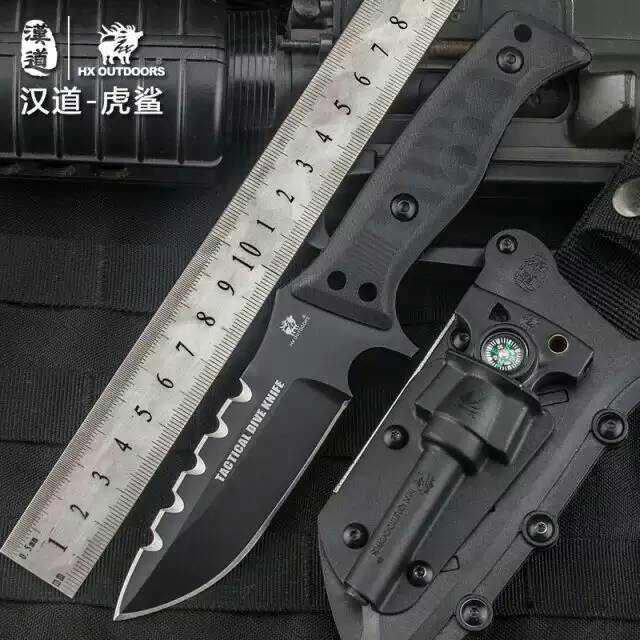 HX OUTDOORS Tiger Sharks Tactical Dive Knife D2 Blade Fixed Camping Knife With Sheath G10 Handle Hunting  Defense Multi Knives aluminum handle small machete fixed blade knife self defense outdoors camping tactical survival knives 1868
