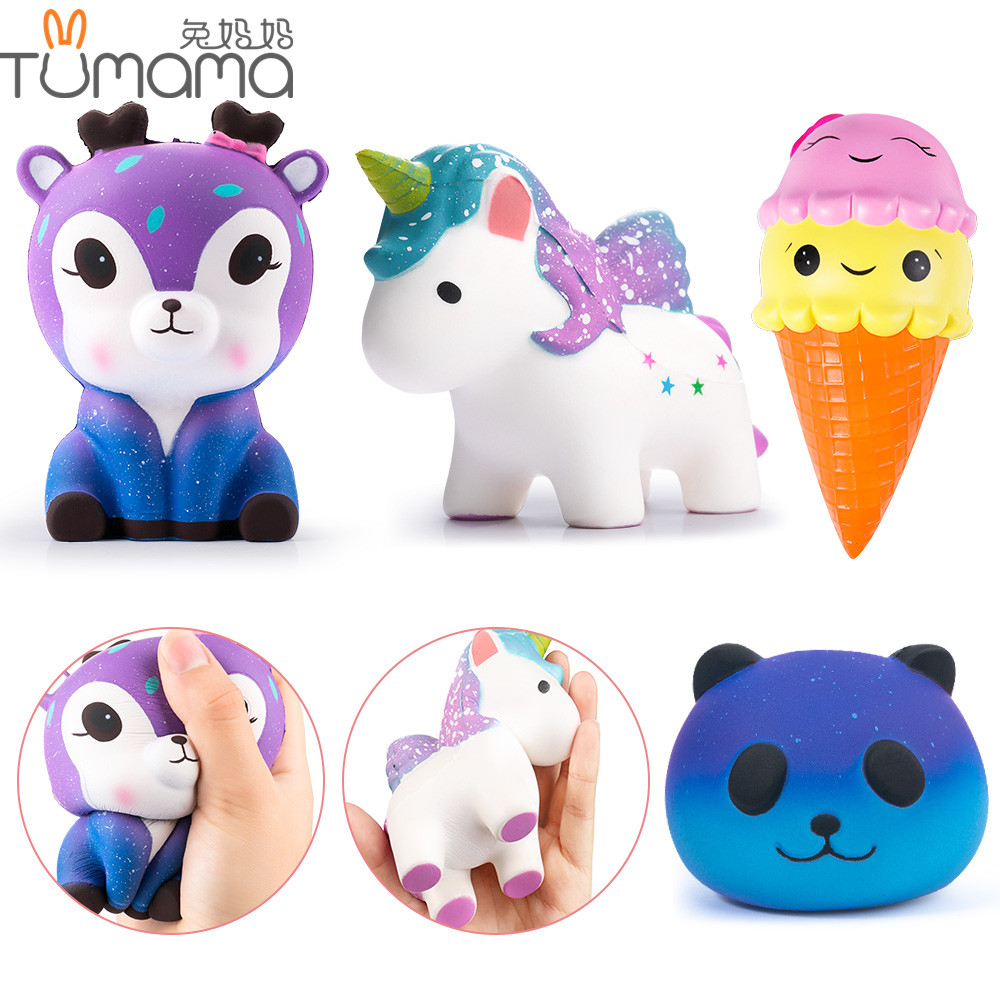 Tumama Squishy Slow Rising Toy Deer Unicorn Icecream Panda Cartoon Squishies Anti Stress Squeeze Toys Stretchy Gag Joke KidsToys цена