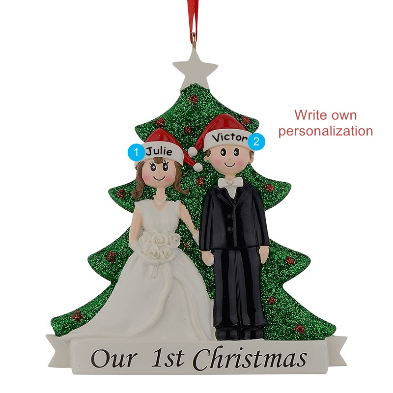 Großhandel Paar Unsere Erste Weihnachten Glitter Resin ...