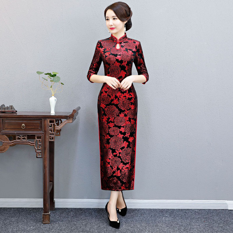 2019 new sexy traditional chinese dresses for Women Tight Bodycon China Dress long-style Velvet Cheongsam chinese wedding dress