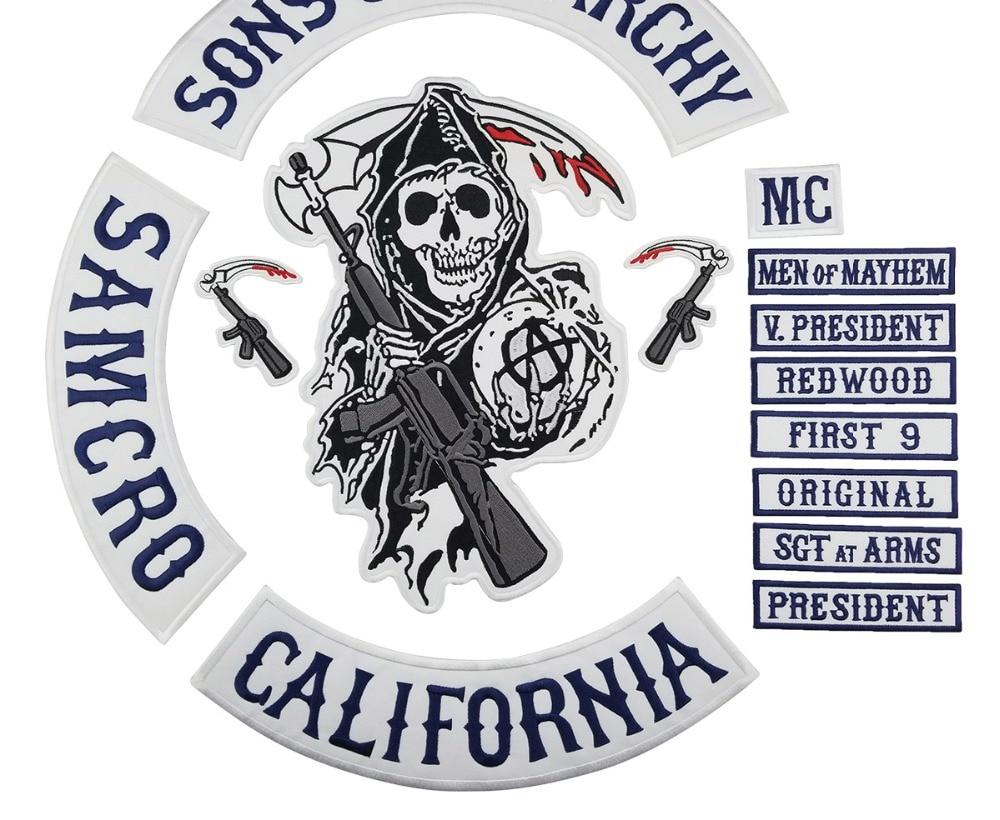 2015 Original Sohn Jacke Zurück Gestickte Anarchy Patch Motorrad Biker Club Patch 35 CM Full Back SOA Patches Marke mc1931