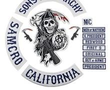 2015 Оригинал сын Куртка Назад Вышитые анархии патч мотоцикл байкер Клуб патч 35 см полная задняя SOA патчи бренд mc1931