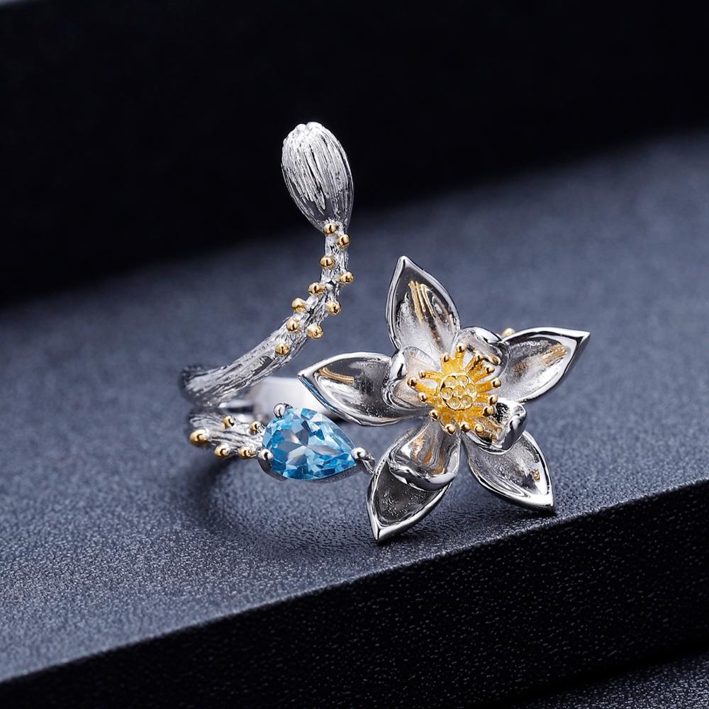 Image 2 - GEMS BALLET Natural Swiss Blue Topaz Gemstone Ring 925 Sterling  Silver Handmade Flowers Adjustable Open Rings for Women BijouxRings