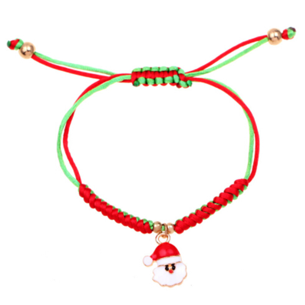 2018 New Fashion Style Women Unisex Adjustable Bracelet Santa Claus Pendant Braided Lucky Red String Rope Bracelet Handmade Gift