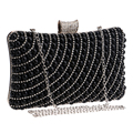 New arrival black beaded women evening bags clutches diamonds lady evening bags messenger chain shoulder bag