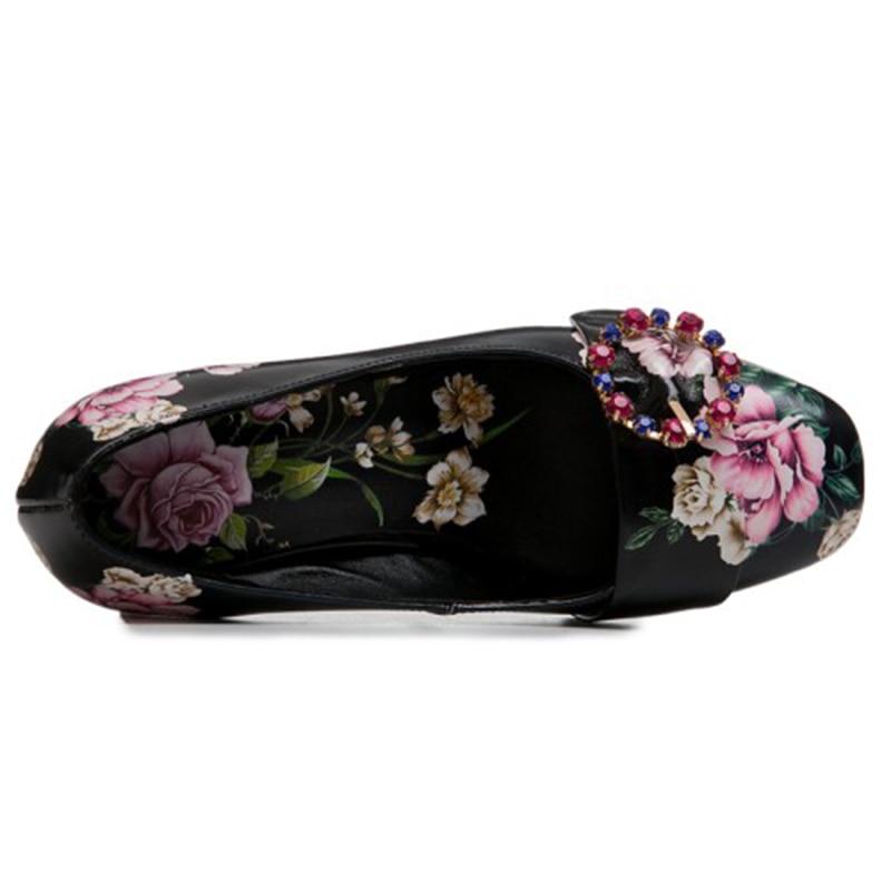 Carrés Haute Talons Véritable Black Automne Fleur white Bling En Pompes 6 Femmes Cuir Mode Carré Bout Cristal 2019 Chaussures Cm Printemps qZA6aa