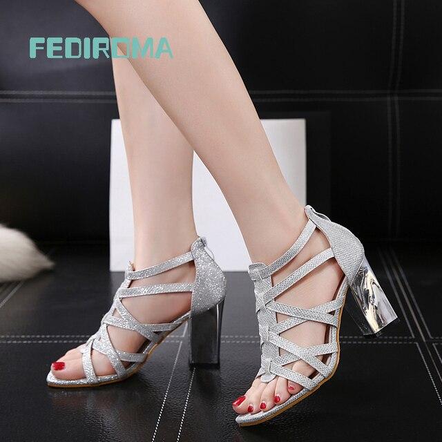 Mujeres Sexy Peep Toe Sandalias de Gladiador Mujer Del Banquete de Boda Plata negro 9.5 CM Talón Grueso de Ultra Tacones Altos Zapatos Mujer