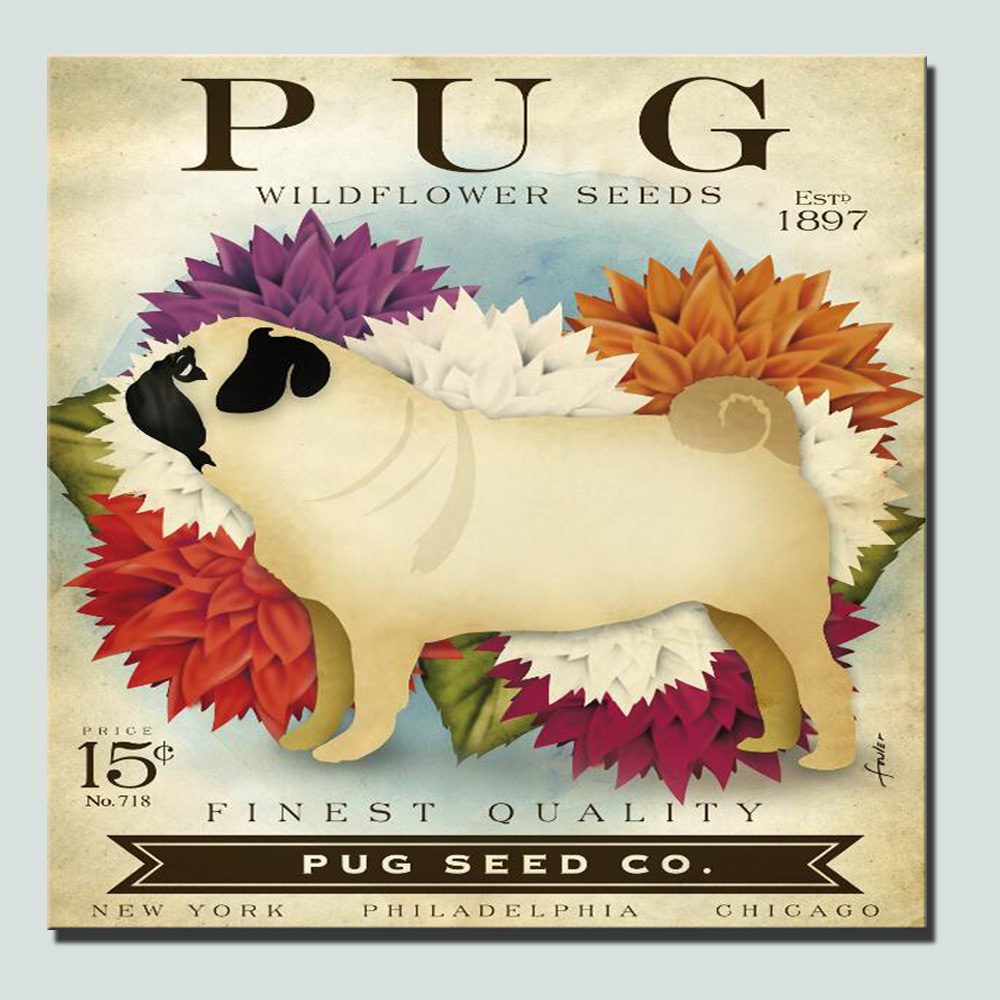 Modern Pug Dogs Wall Art Canvas Posters Family Pet Lovely Pug Dog ...