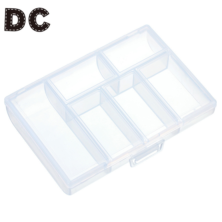 DC 6 Slots Jewelry Tool Box Organizer Storage Beads Jewelry Box New Fashion Plastic Packaging Gift Earring Ring Box For Jewerly