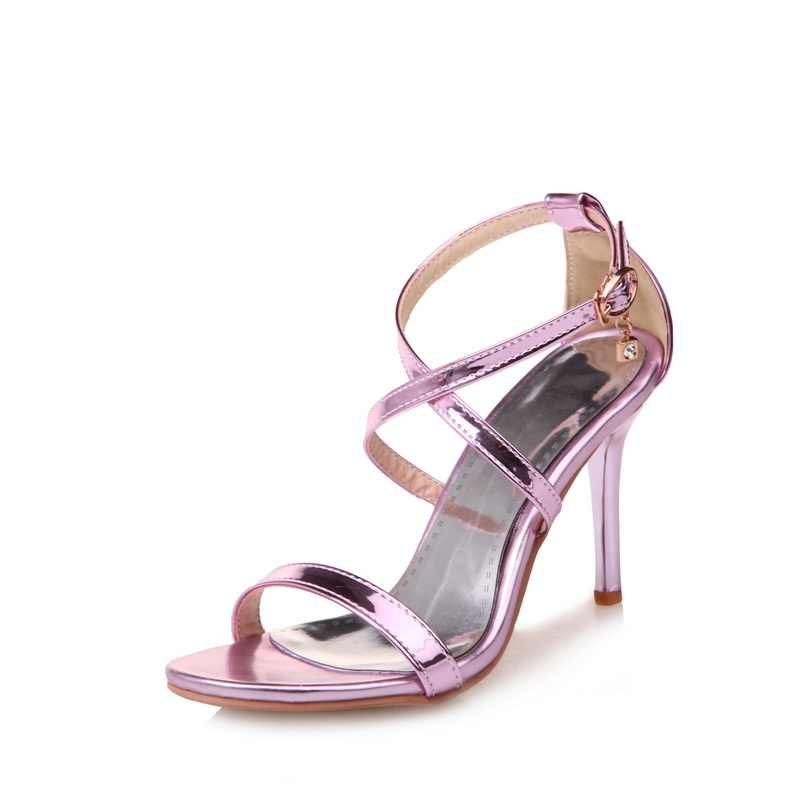 2017 Hot Fashion Shoes Women Thin High Heels Round Toe Buckle Strap Sexy Summer Women Pumps for Party/Wedding Plus Size 3-19 171