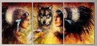 Square Round3pcs Set Modern Art Decorative Diy 5d Diamond Embroidery Indigenous People With Wolf 5d Diamond
