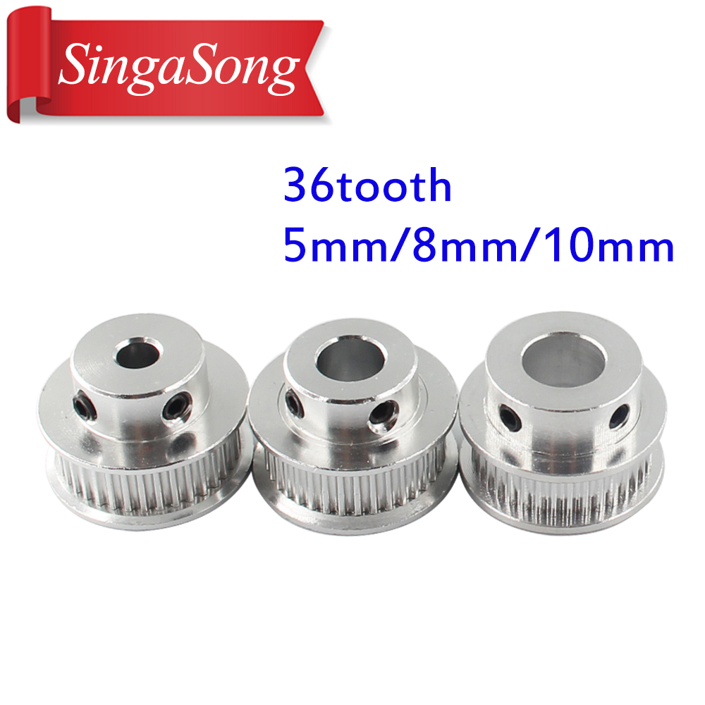 5 PCS GT2 Aluminum Timing Belt Pulleys 36T 10mm Width 5mm Bore for 3D Printer