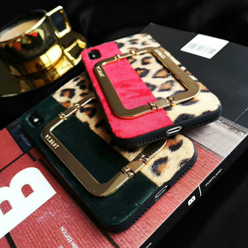 luxurious Leopard case for iphone 6 6s Metal snap kickstand back cover for iphone 7 7plus case for iphoneX XS XR XSMAX 8 8plus in Fitted Cases from Cellphones Telecommunications