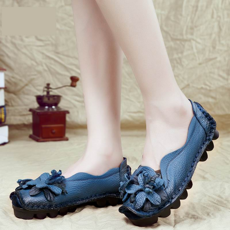 ФОТО Handmade vintage cutout women's shoes genuine leather female moccasins loafers soft outsole casual shoes flats