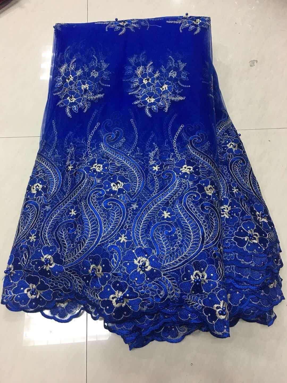 2018 neueste Nigerian Schnürsenkel Stoffe Hohe Qualität Afrikanische Schnürsenkel Stoff für Hochzeit Kleid Französisch Tüll Spitze mit Perlen ZJ112