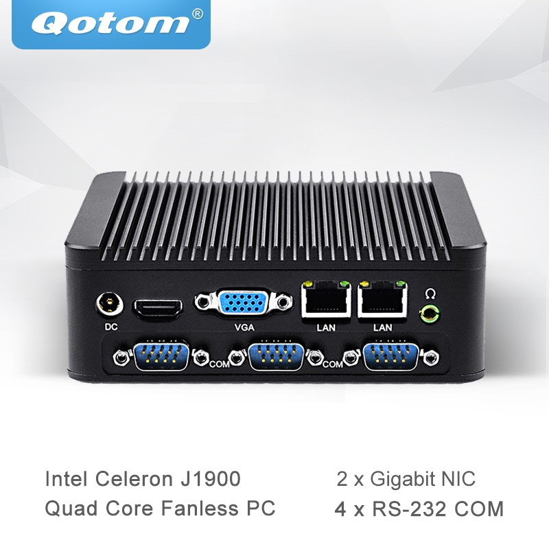 Qotom Mini PC With Celeron J1900 Quad Core 2 Gigabit NIC LAN Ports Fanless Micro Computer Support Win Linux Ubuntu Q190P