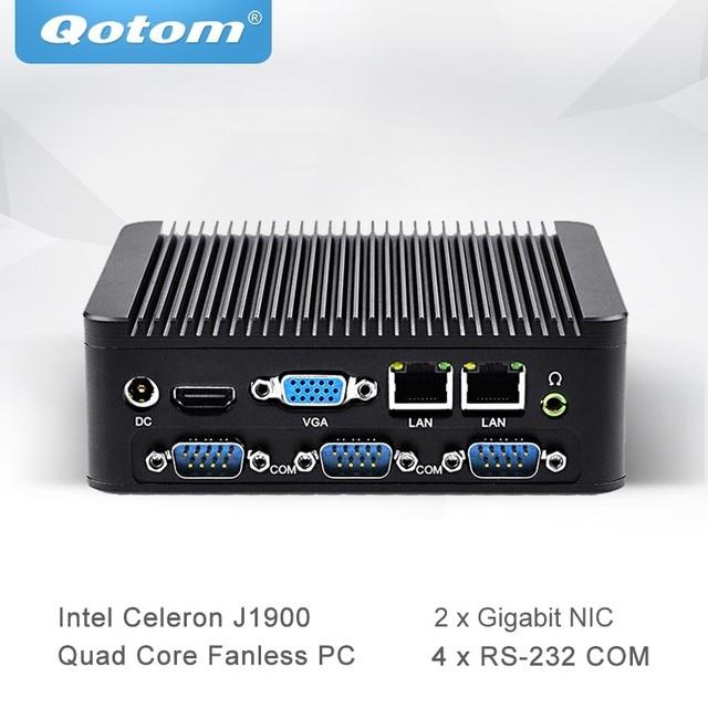 US $111 63 15% OFF|Qotom Mini PC with Celeron J1900 Quad Core 2 Gigabit NIC  LAN Ports Fanless Micro Computer Support Win Linux Ubuntu Q190P-in Mini PC