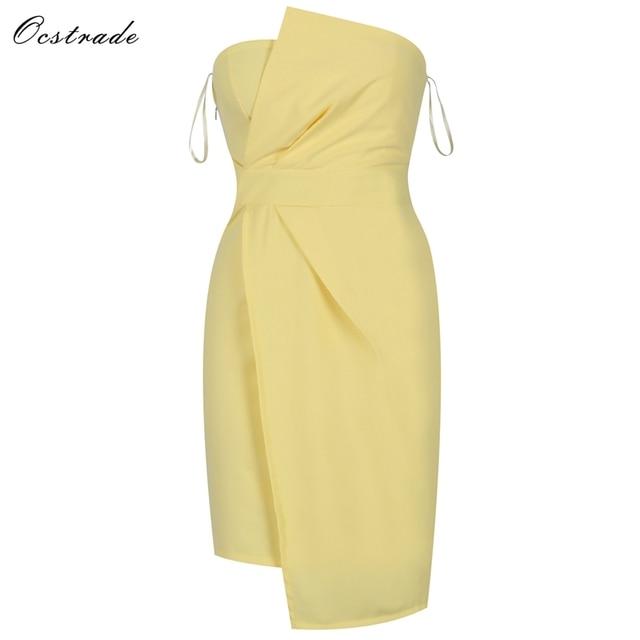 a9fd6e30947 Ocstrade Yellow Strapless Sleeveless Knee Length Wrinkled Irregular Evening  Bodycon Dress HI960-Yellow