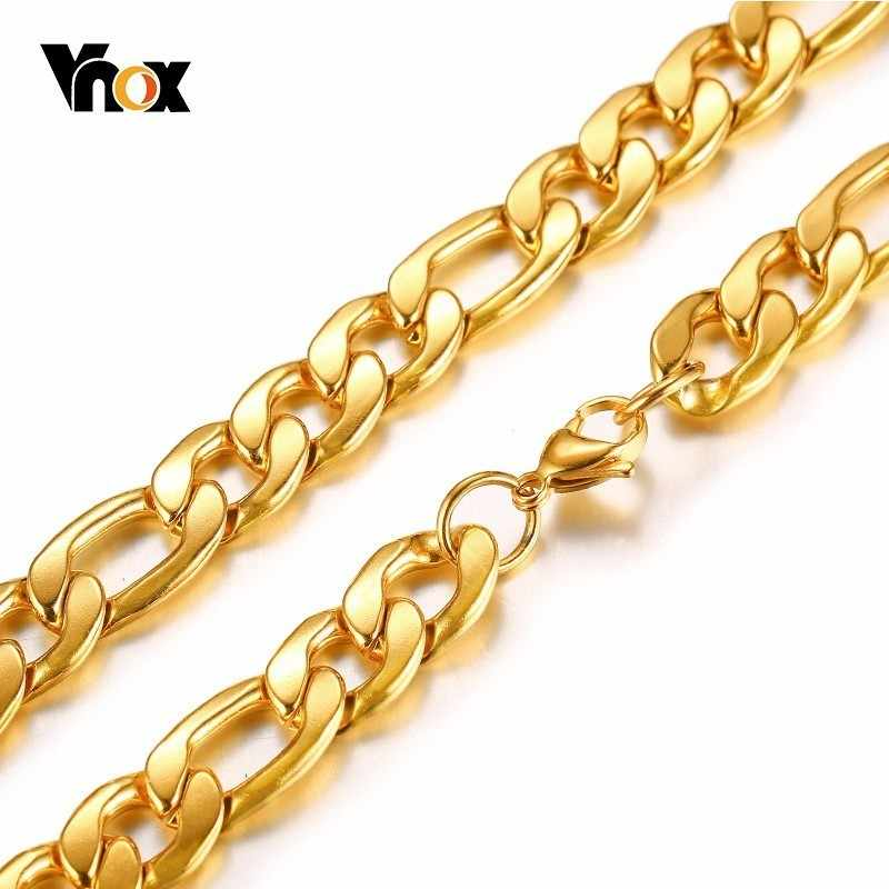 21bd0bedac7 ... Men's Figaro Chain Necklace Curb Link Gold Tone Stainless Steel Male  Colar Jewelry 24 inches ...