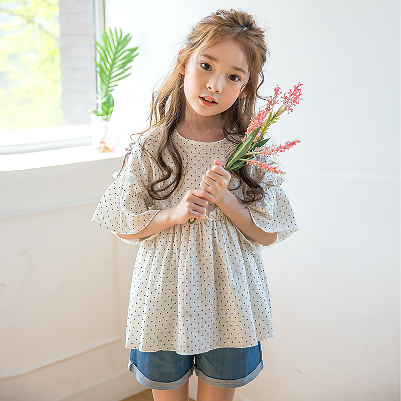 2017 New summer Kids Clothes 2 Pieces Set 4-14 Year Girl Cotton Dots Tops + Denim Shorts Sets Casual Teenager Girls Clothing