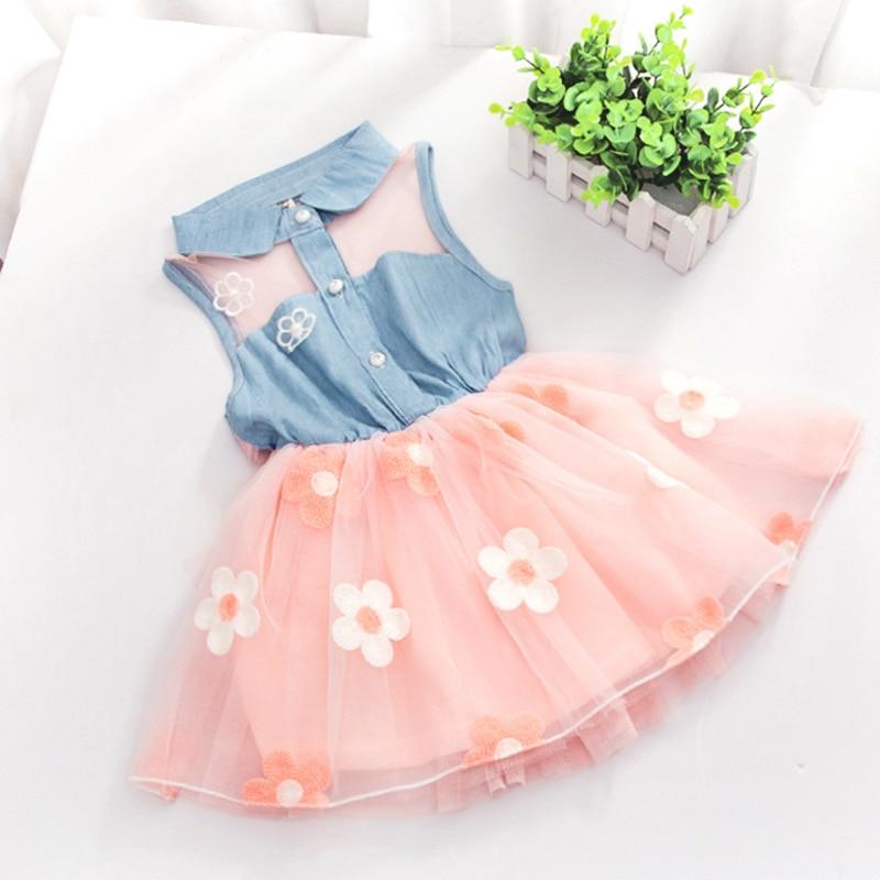 2c120012634 Top Fashion 2018 New Baby Children Cowboy Sleeveless Beautiful Princess  Dress Sheer Mini Party Lolita Style 2-7Y