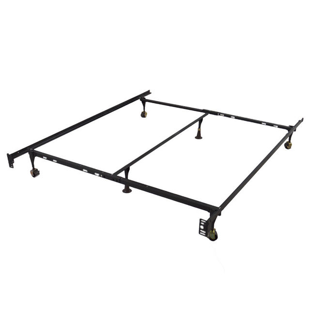 New Modern Adjustable Metal Queen Bed Frame Full Twin Size W Center