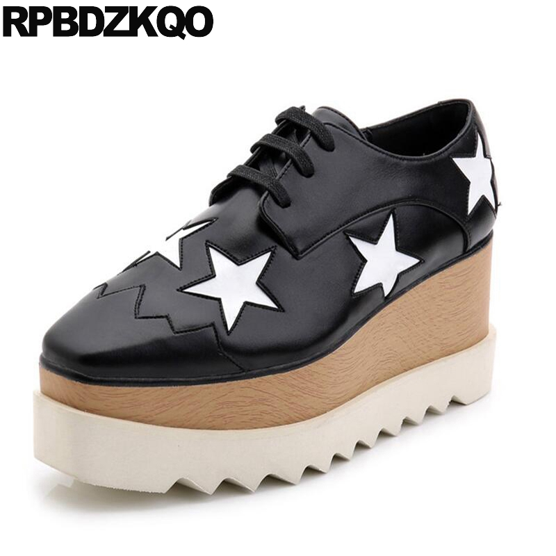 Harajuku Lace Up Star Black Wedge Women Platform Ladies Creepers 2017 Genuine Leather Beautiful Flats Shoes Large Size Drop women wedge platform flat shoes 2015 ladies harajuku lace up floral creepers flats female mujeres plataforma zapatos a9563