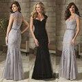 Mãe elegante da Noiva Vestidos de Renda para Casamentos Sereia Lantejoula Mangas Longas Formal Madrinha Vestidos Mãe Do Noivo