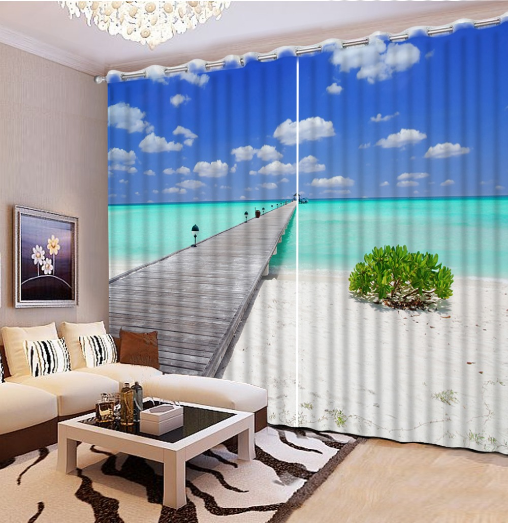 European Style Top Quality Nature Window Curtains 3D Beach Scenery Window  Curtain Living Room(China