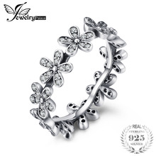 hot deal buy jewelrypalace hot sale 100% 925 sterling silver flowers finger rings clear cubic zirconia rings for women wedding fine jewelry