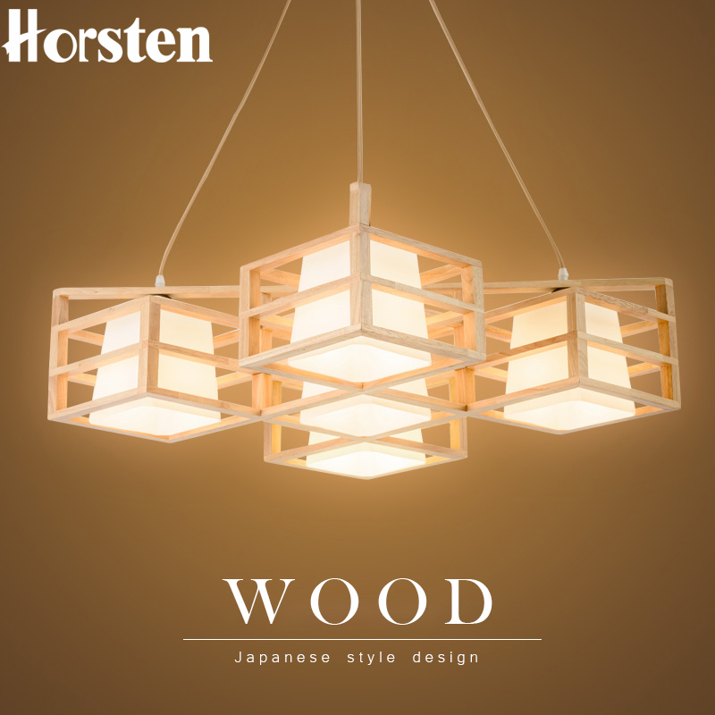 Horsten Japanese Style Solid Wood Pendant Light Nordic Creative Wooden Pendant Lamp For Bedroom Living Room Restaurant Lighting nothern europe black white color pendant lamp wood japanese style restaurant light bedroom light free shipping