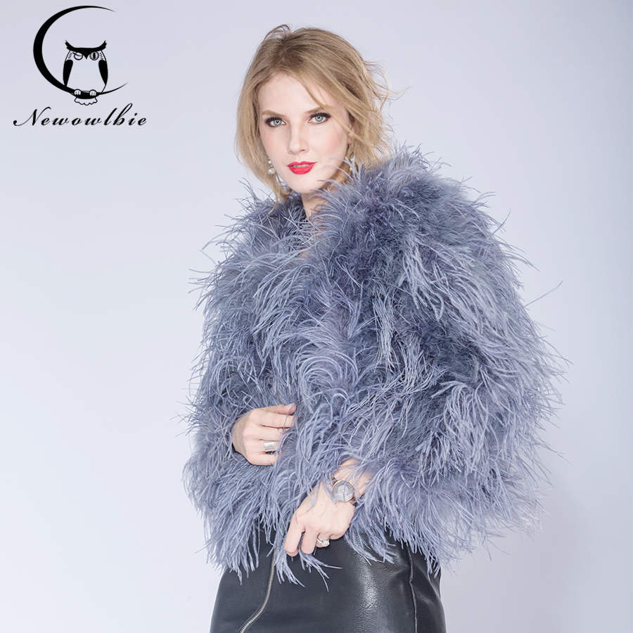 ea61dfb4e6 2018 new Australia top quality real ostrich wool turkey feather coat  shearling women jackets elegant fashion ...