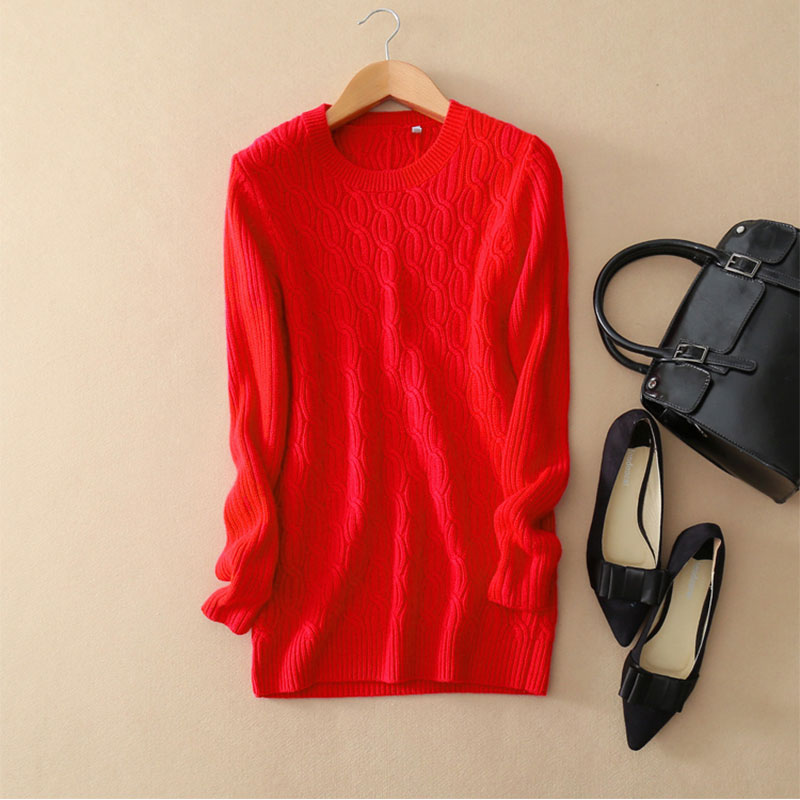 2018 Autumn Winter Cashmer Sweater Women's Red Thick Pullover 100% Pure Cashmere Sweater Crew neck Long Sleeve Warm Outwear 2018 autumn winter cashmer sweater women s red thick pullover 100