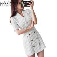 2018 Summer Dress Women Striped Double breasted V Collar Mini Dress Suits Sexy Short Sleeve Blazers Fashion Office Lady