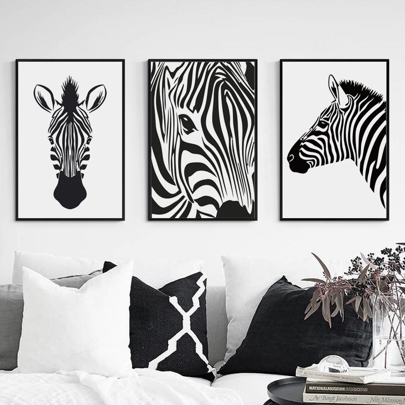 6 35 Nordique Simple Noir Et Blanc Animal Zèbre Toile Art Peinture à L Huile A4 Affiches Murales Photos Pour Salon Maison Décoration Murale In