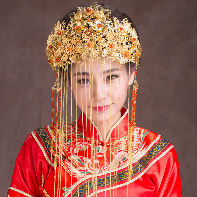 Chinese classical crown bride headdress red retro tassel hair comb Chinese wedding gold hair ornaments Factory Outlet