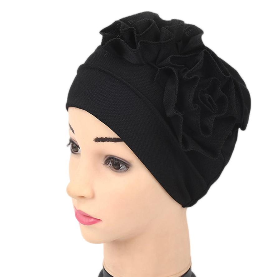 где купить Women New Elastic Cap Turban Muslim Ruffle Cancer Chemo Hat Beanie Scarf Turban Head Wrap Cap Ladies India Take Photo Headscarf по лучшей цене