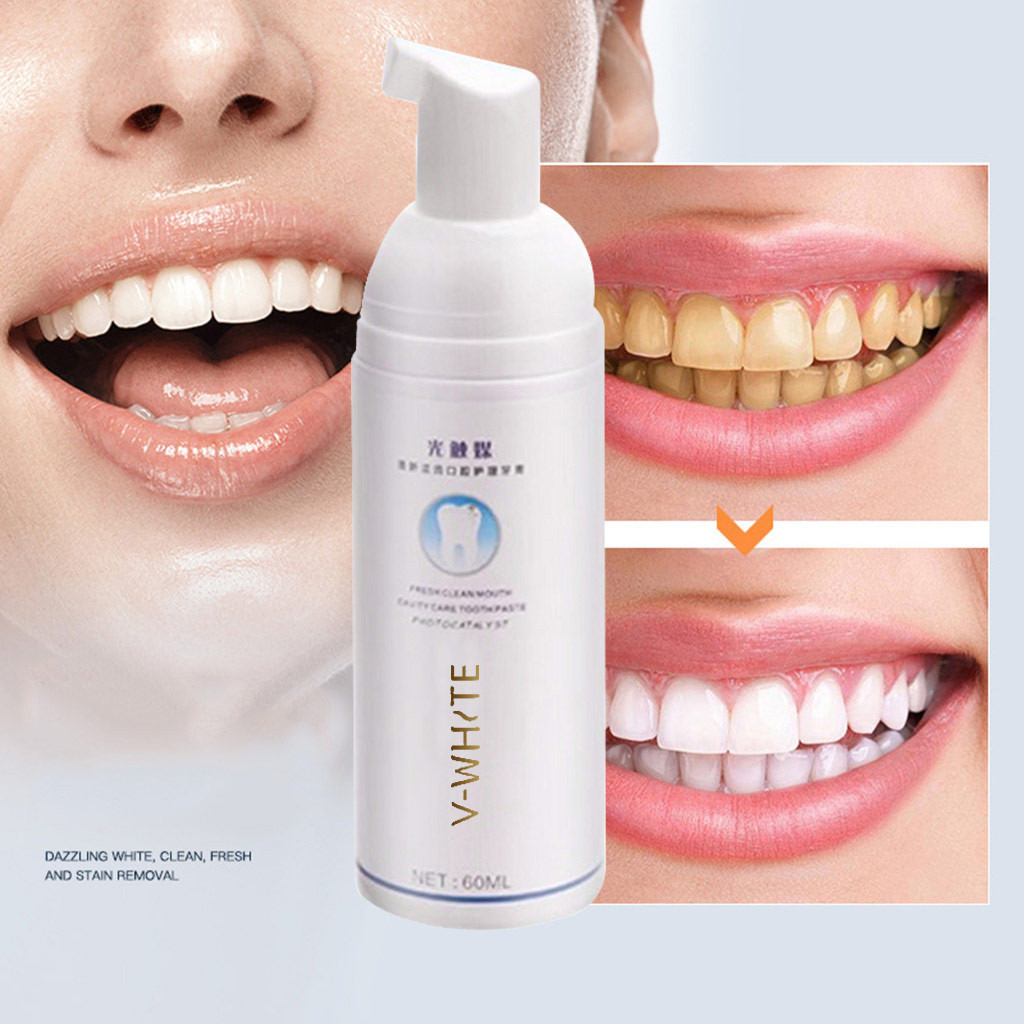 Tooth Care Natural Stain Removal Whitening 60ml Foam Toothpaste Deep Cleansing Toothpaste  Liquid Natural Fresh breath  Y711(China)