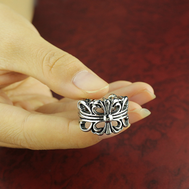 High Quality Punk Style Hollow Out Cross Pattern Stainless Steel Men Finger Rings Fashion Street Men Jewelry Birthday Gift