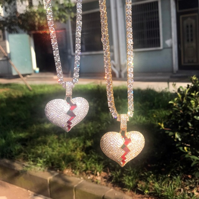 Frozen heart iced out pendant