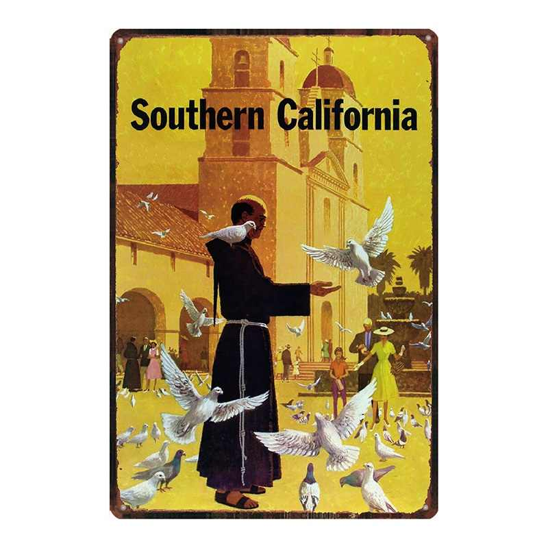California Plaque Metall Vintage Reise Zinn Zeichen Strand Metall Platte Für Wand Pub Cafe Home Art Craft Decor Cuadros DU-2449