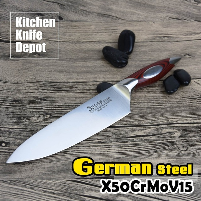 SEDGE 8 Inch Chef Knife Kitchen Blade High Carbon German Stainless Steel X50CrMoV15 With G10 Handle