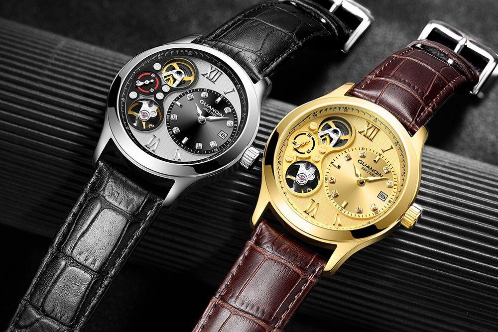 Guanqin 2019 relógio masculino esqueleto automático relógio